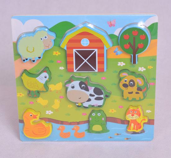 Image de puzzle en bois animaux de la ferme ak209