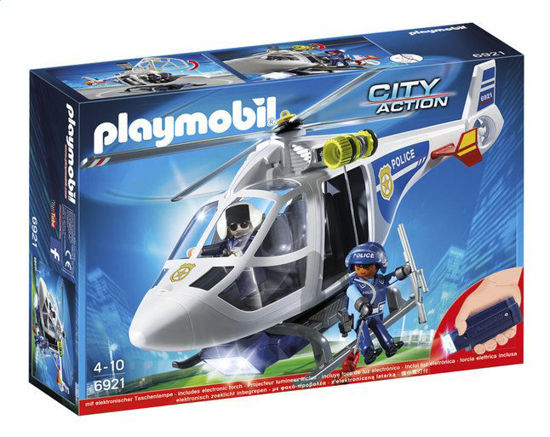 Image de Playmobil - Hélicoptère de Police avec Projecteur