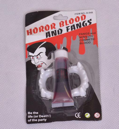 Image de Set de Sang Artificiel et Dents de Vampire pour Halloween