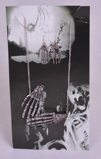 Image de Ensemble de bijoux Halloween :  Collier et boucle d'oreilles Squelette