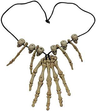 Image de collier squelette tete main halloween