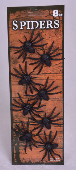Image de Accessoire haloween Set de 8 araignées en plastique