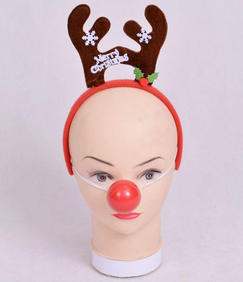 Image de Accessoire Noel serre tete merry christmas avec nez rouge