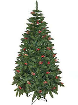 Image de Sapin de Noël avec baies et pommes de pin