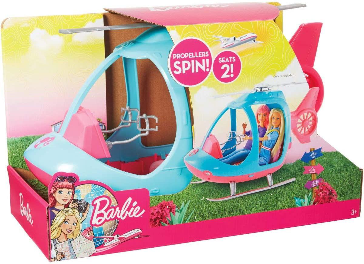 Image de Barbie Voyage Hélicoptère rose et bleu
