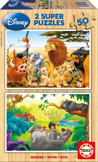 Image de Puzzle bois 2*50 animals friends 13144