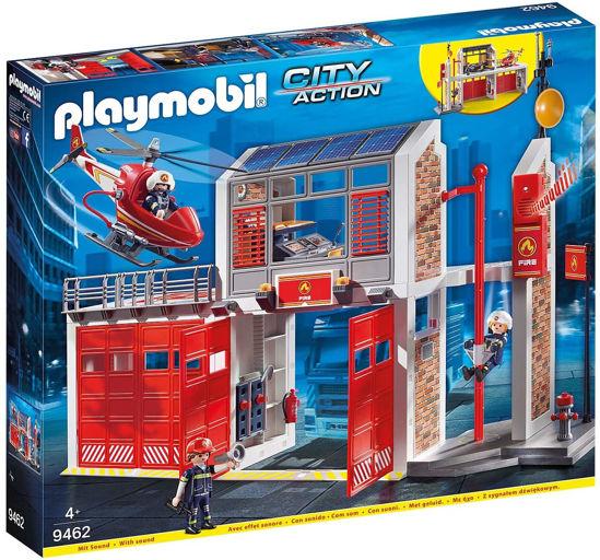 Image de PLAYMOBIL caserne de pompiers avec helicoptére