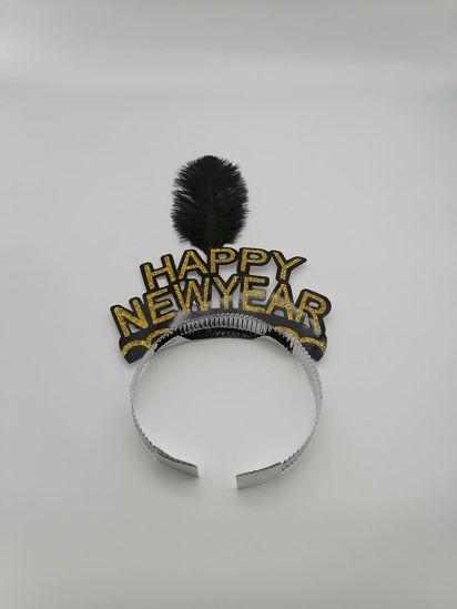 Image de serre tête happy new year avec plume