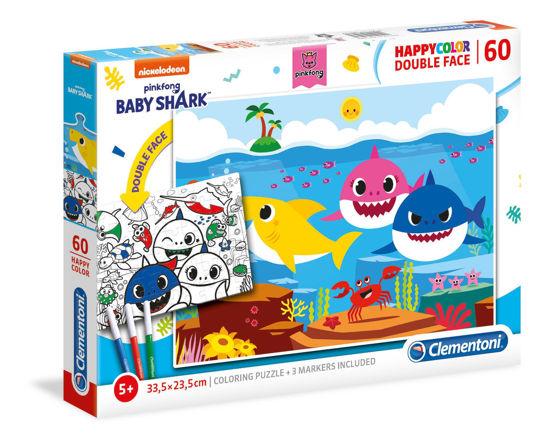 Image de Clementoni Baby Shark  60 pièces  Happy Color Double Face 26093