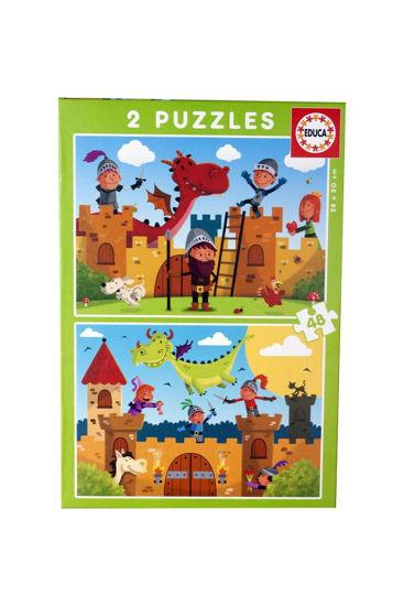 Image de Puzzle 2*48 dragons et chevaliers 17151