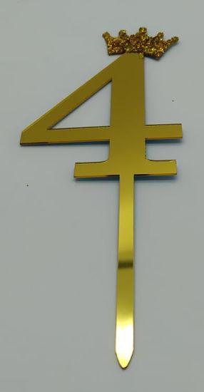 Image de Numéro  4 doré Cake Topper